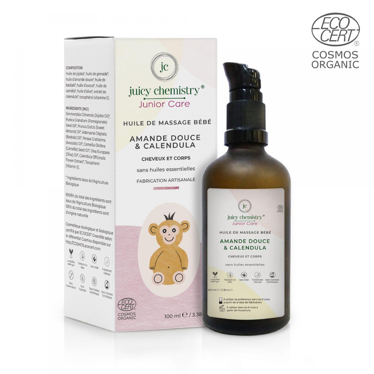 Huile de Massage Bébé Amande Douce & Calendula Emballage