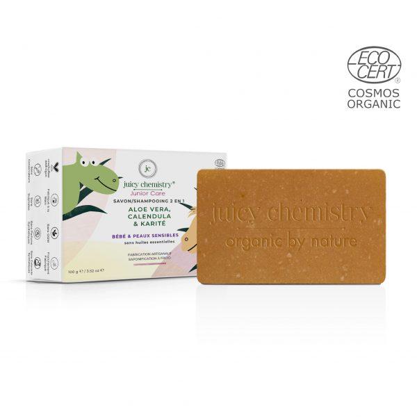 Savon - Shampooing Solide (2en1) Aloe Vera, Calendula & Karité Emballage