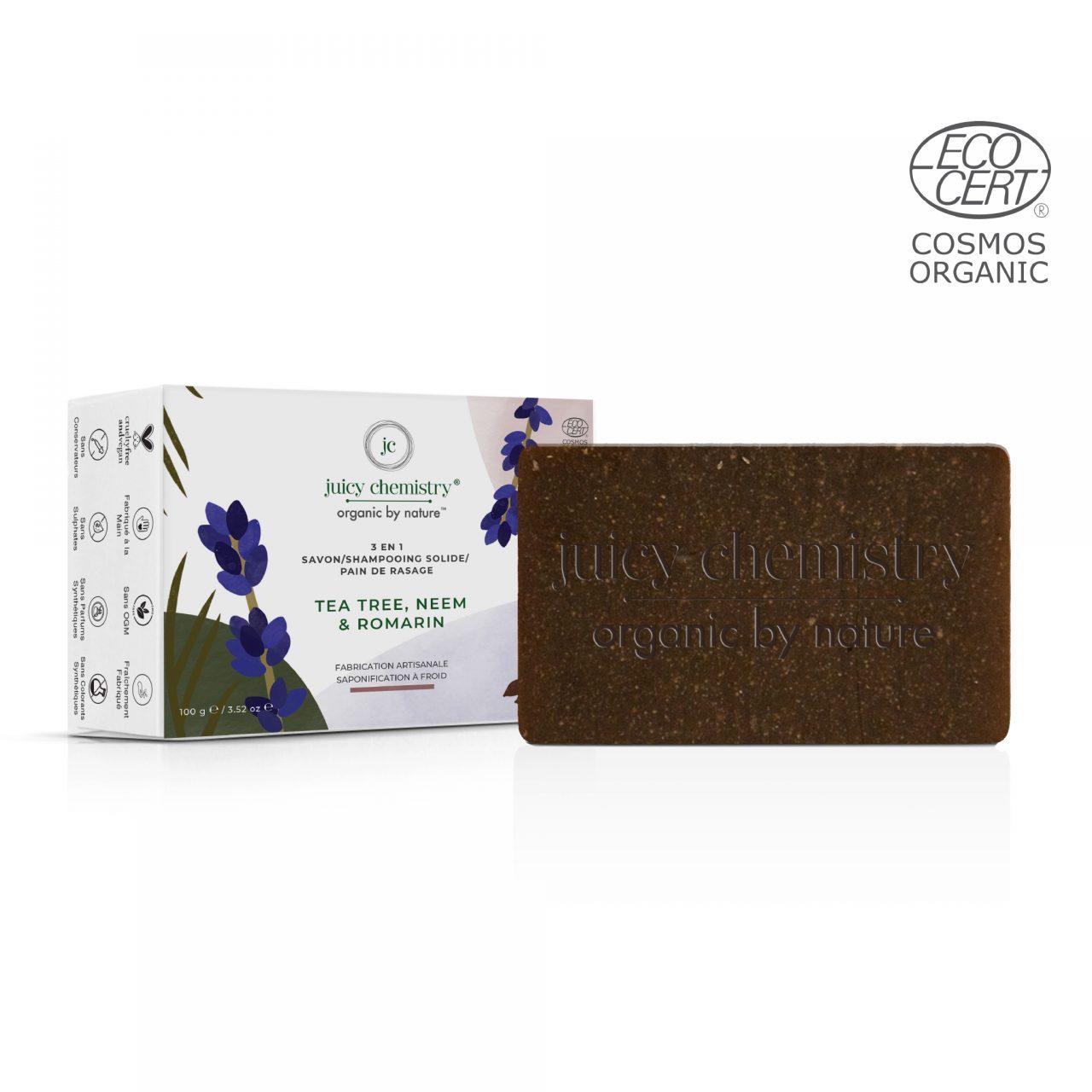 Savon-Shampooing Solide-Pain de Rasage Tea Tree, Neem & Romarin Composition