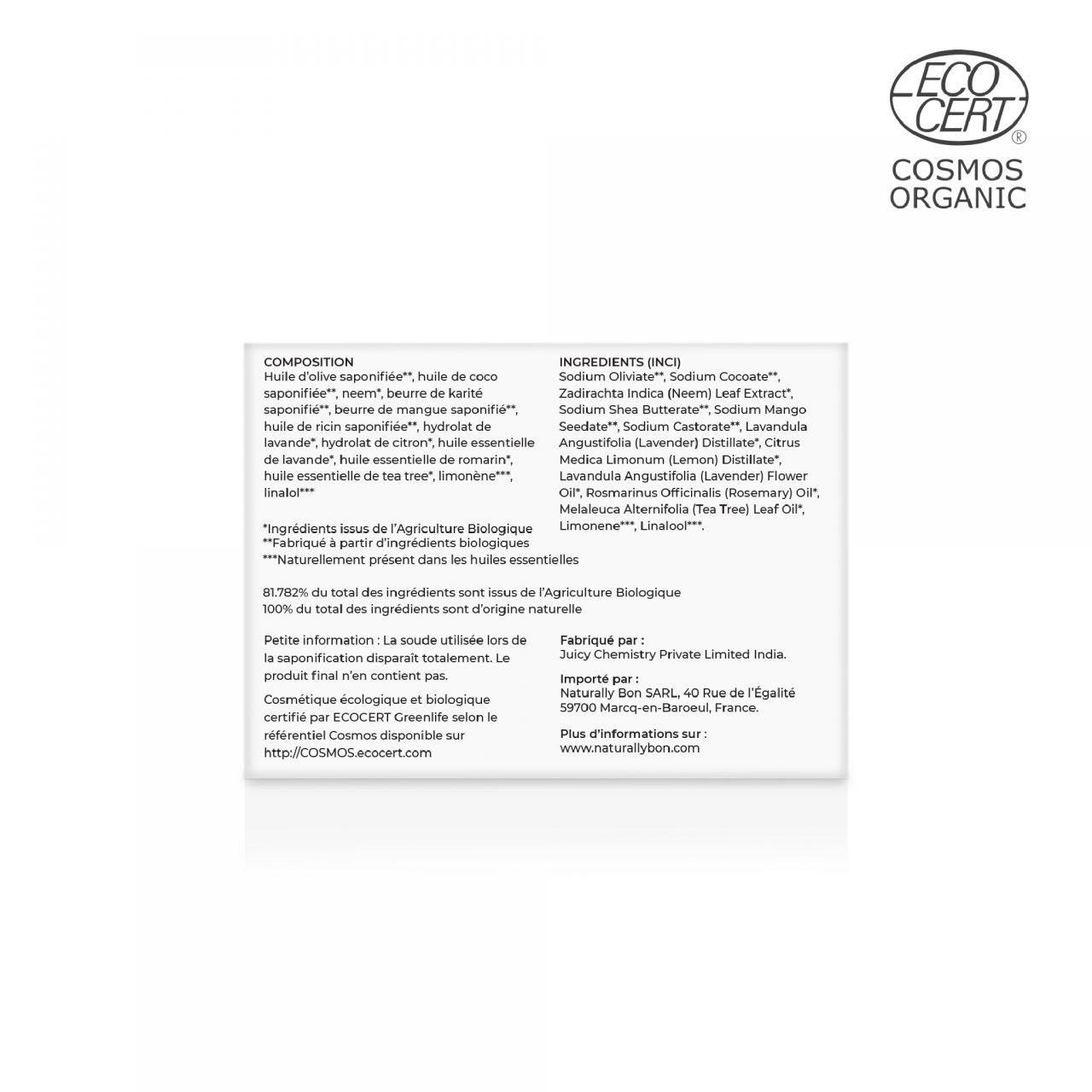 Savon-Shampooing Solide-Pain de Rasage Tea Tree, Neem & Romarin Composition_1