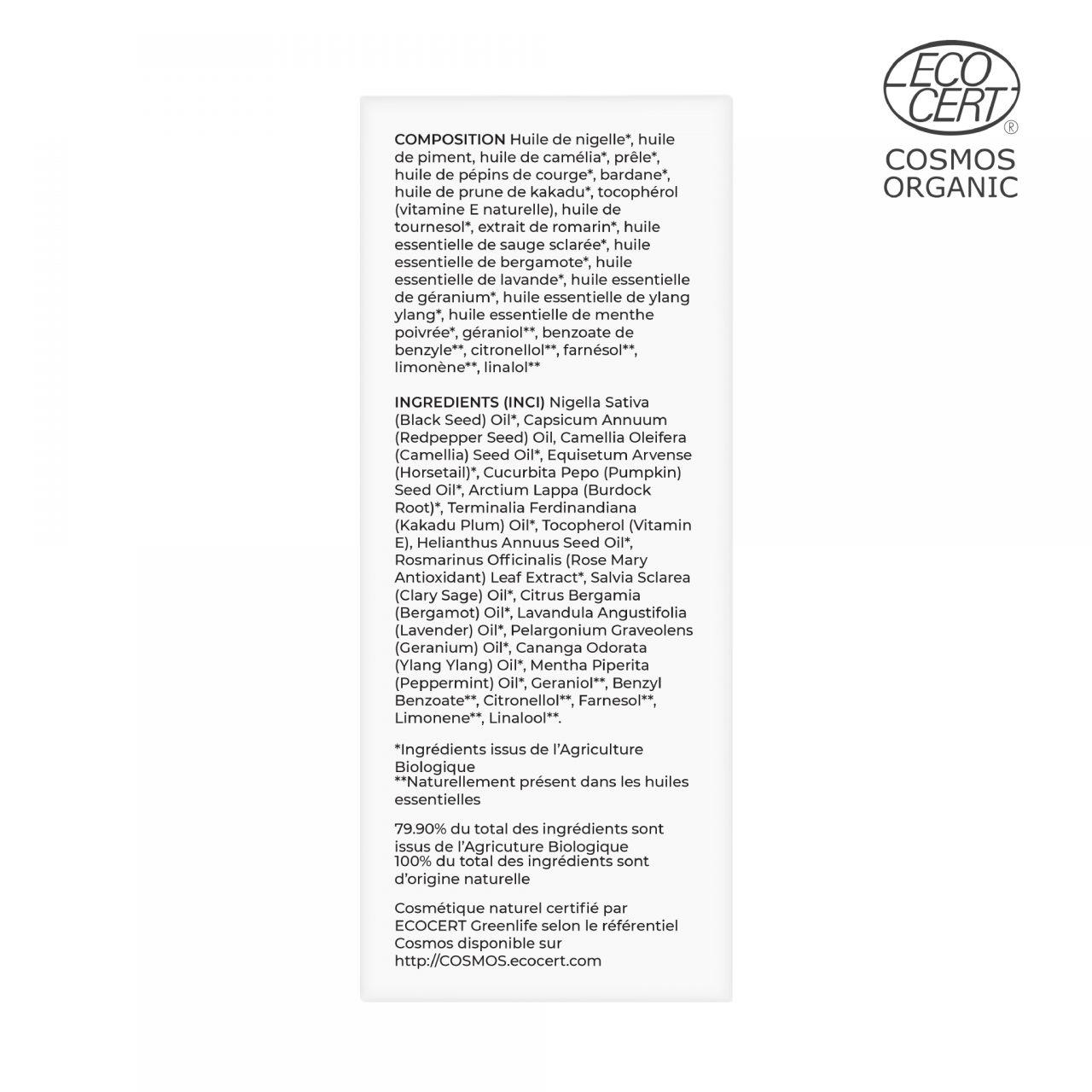 Sérum Capillaire Nigelle, Piment & Prêle Composition