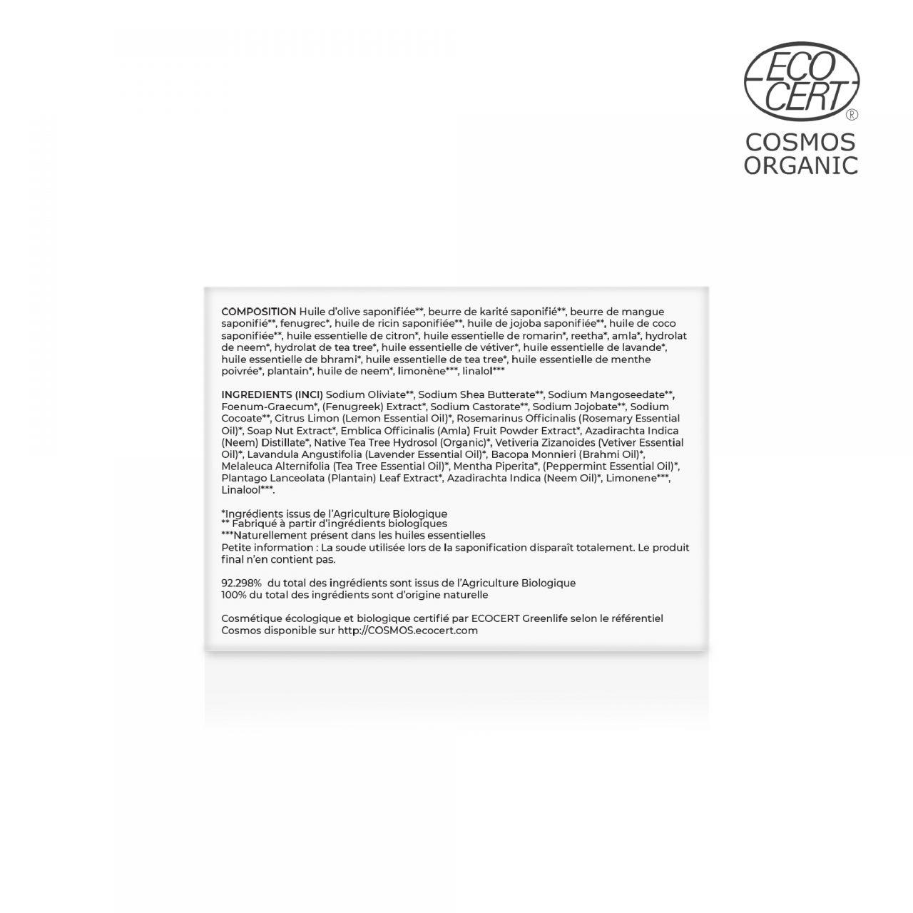 Shampooing Solide Fenugrec, Brahmi & Plantain Composition