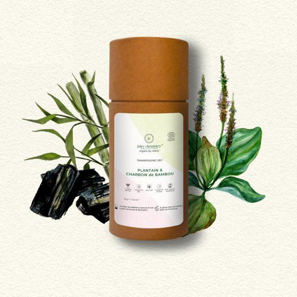 Soin Capillaire - Shampooing Sec Plantain & Charbon de Bambou