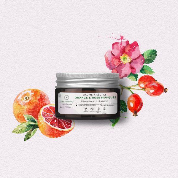 Soin Visage - Baume à Lèvres Orange & Rose Musquée